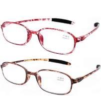 AQWANO 2 Pack Blue Light Blocking Computer Reading Glasses UV Protection Flexible TR90 Frame Lightweight Readers Glasses for Women Men +2.25