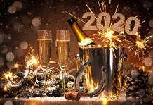 AOFOTO 10x7ft New Year Eve Dinner Table Decor Backdrop 2020 Celebration Good Lucky Clevis Holiday Party Photography Background Champagne Glass Business Event Evening Reception Festival Carnival Props