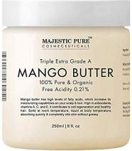 Majestic Pure Raw Mango Butter, 8 oz - Organic Premium Grade for Soft Supple Skin and Healthy Hair …