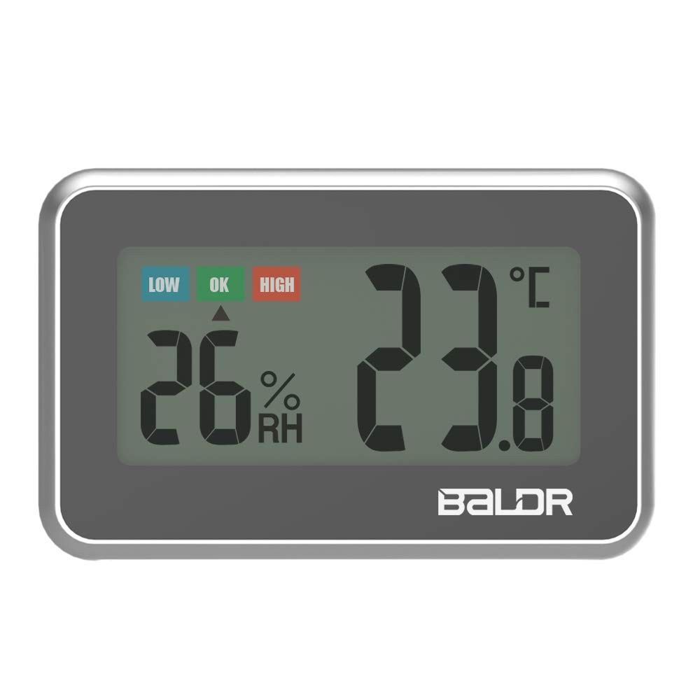 Digital Mini Indoor Thermometer Hygrometer – Fridge Thermometer With Humidity Gauge, Indoor Temperature Monitor, Magnet Attaching For Kitchen Refrigerator, Office & Greenhouse, Black