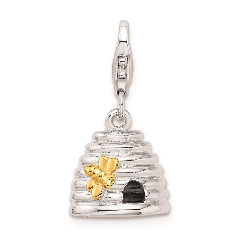 925 Sterling Silver Gold Plated 3 D Beehive Lobster Clasp Ch Necklace Pendant Charm Baby Fine Jewelry For Women Gifts For Her
