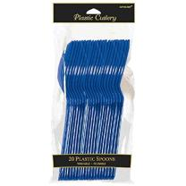 Amscan 4547.74 Plastic Spoons, 20 pieces, Navy Flag Blue