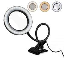 Magnifying Glass Lamp, Hands Free Dimmable Magnifying Glass Desk Lamp, 64pcs LED lihgts 3 Modes Lighting for Reading, Crafting, Sewing, Soldering, Jewelry Makers