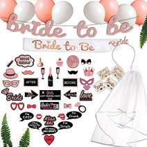 Scapa Pro Rose Gold Bachelorette Party Decorations Pack. 63-Pc Pink Bridal Shower Supplies Includes: Bridal Shower Photo Booth Props, Bride-to-Be Sash, Tiara, Veil; Glitter Banner; Tattoos, Balloons