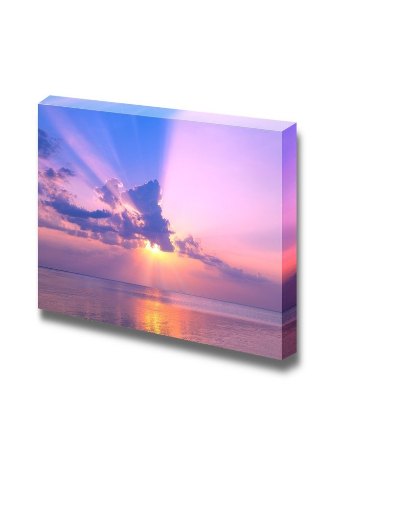 """wall26 - Canvas Prints Wall Art - Beautiful Rose Sunset Over Sea 