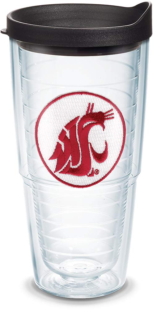 Tervis 1089876 Washington State Cougars Logo Tumbler with Emblem and Black Lid 24oz, Clear