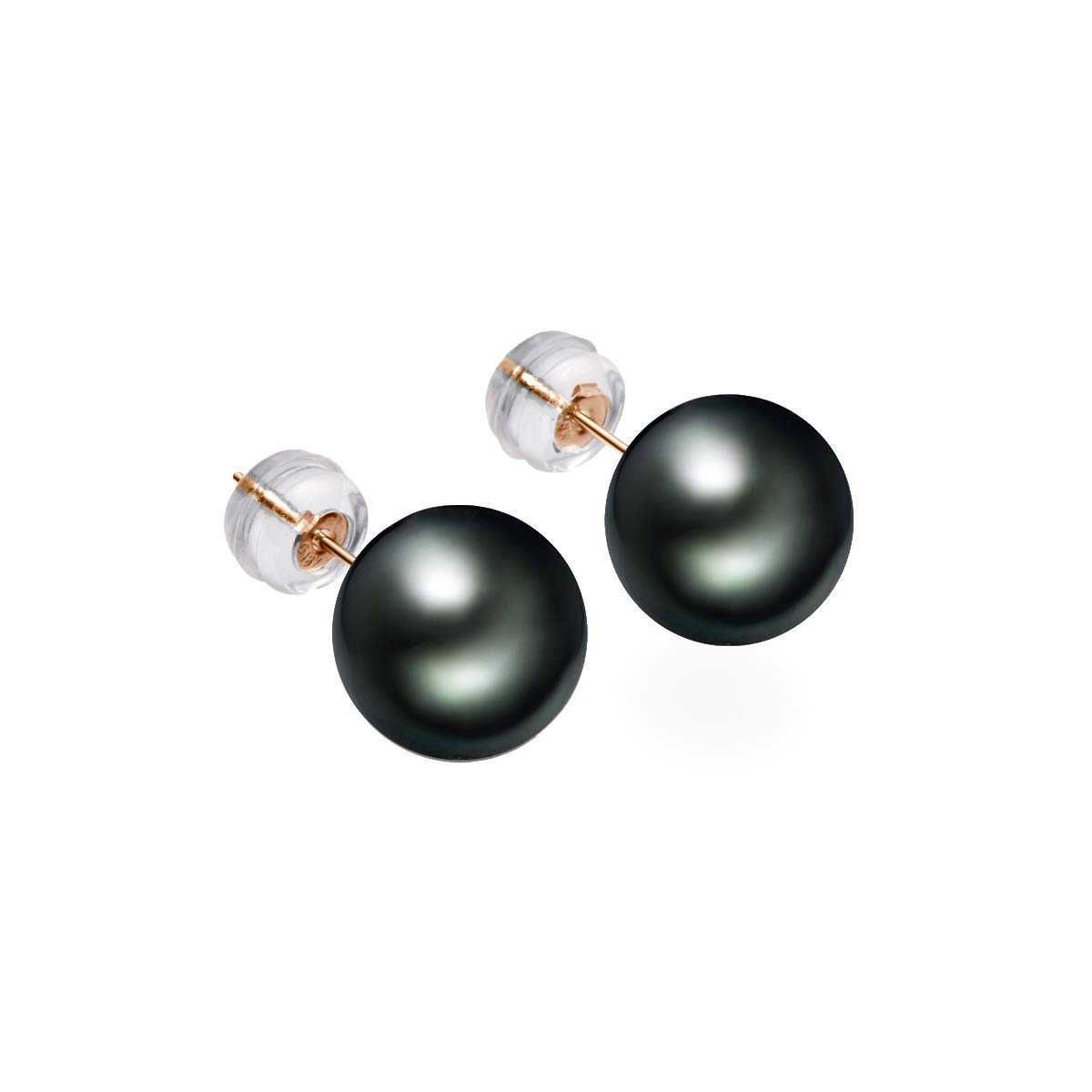 18K Gold Natural Round Cultured Black Pearl Stud Earrings for Women, 8-9mm High Luster Tahitian South Sea Cultured Pearl Earrings