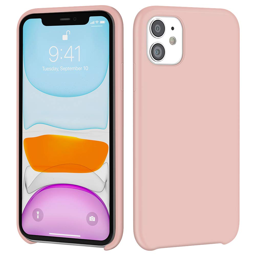 iMangoo iPhone 11 Case, Liquid Silicone Case for iPhone 11 6.1 inch Soft Microfiber Lining Cover Anti-Slip Gel Rubber Coating Protective Phone Case Shockproof Armor Protection Slim Shell Baby Pink