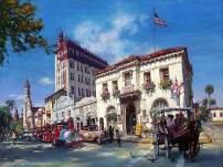 Cao Yong - Life in ST. Augustine, Florida - Limited Edition,Hand-Embellished Giclee Print On Canvas,Individually Numbered & Signed,American-Chinese Contemporary Art Master Painting, 18?X24?,Unframed