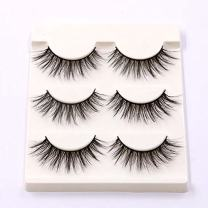 Sunniess Hair High Imported Fiber 3D Mink False Eye lashes Handmade Reusable Long Cross Makeup Natural 3D Fake Thick Black EyeLashes 6 Pairs(2-3D-05)