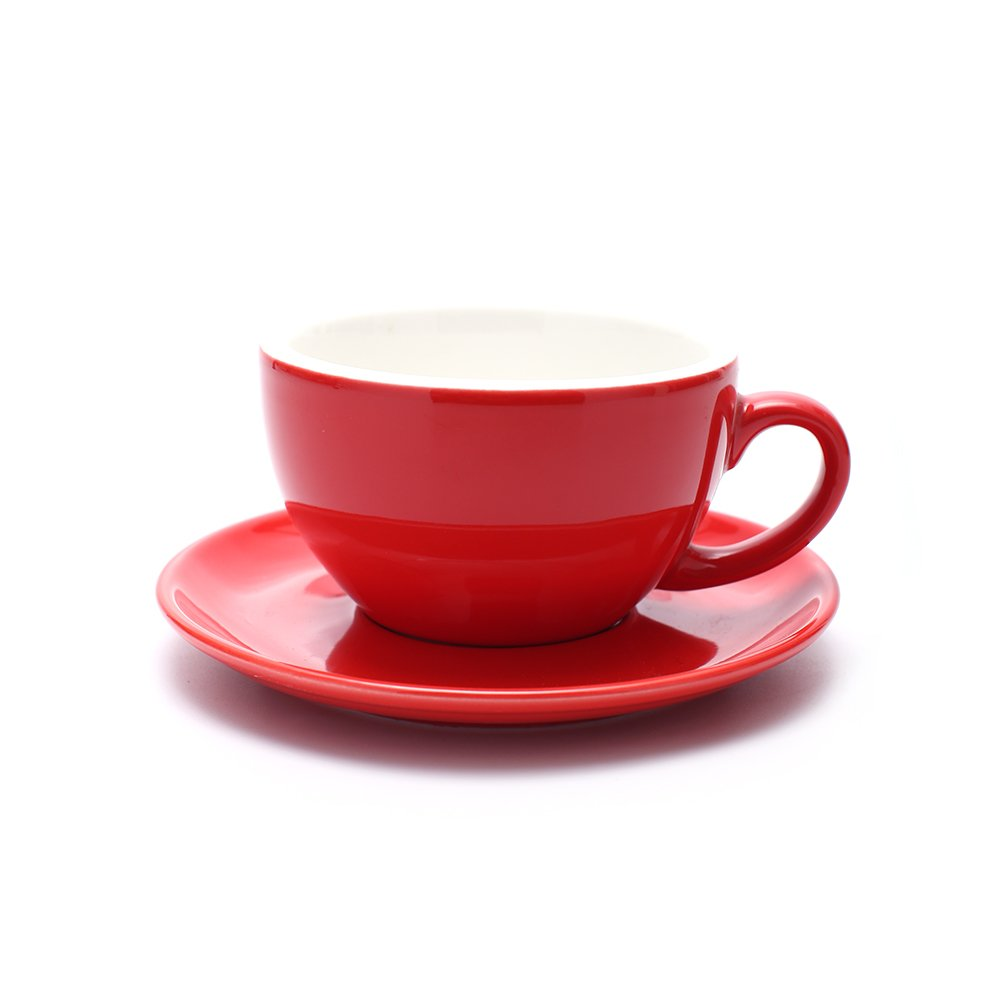 Coffeezone Americano Cup and Saucer, 3 Capacity to Choose Latte Art Cappuccino for Coffee Shop and Barista (Glossy Red, 8.5 oz)