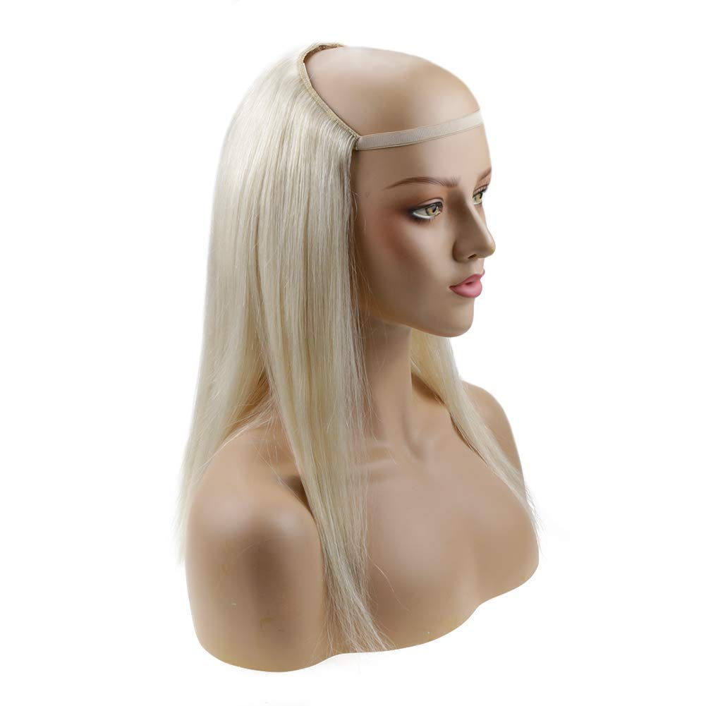 Runature Color 60 Platinum Blonde Color Wigs Human Hair Half 120 Gram Wig Human Hair 14 Inches Natural Human Hair Extensions One Piece Real Hair Extensions Clip In Half Wigs For Women