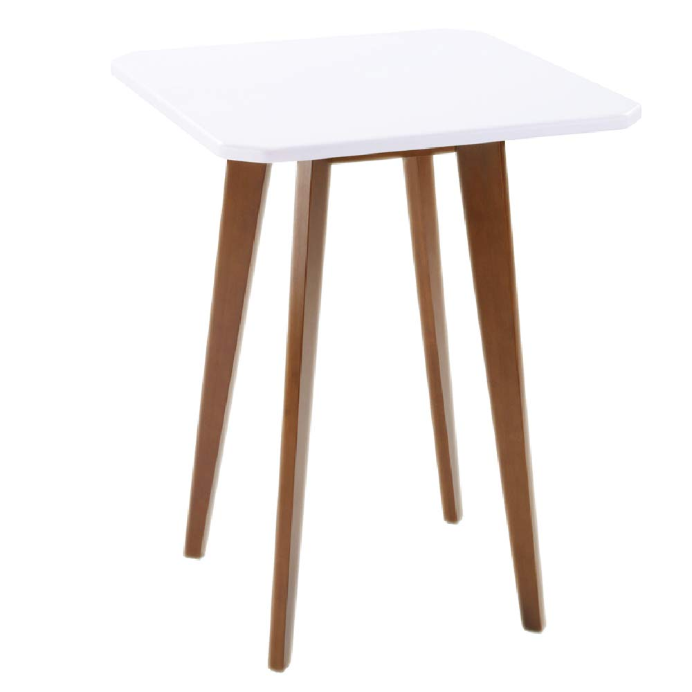 WILSHINE Square End Table for Living Room Small Nightstand for Bedroom Mid Century Modern Style White/Brown