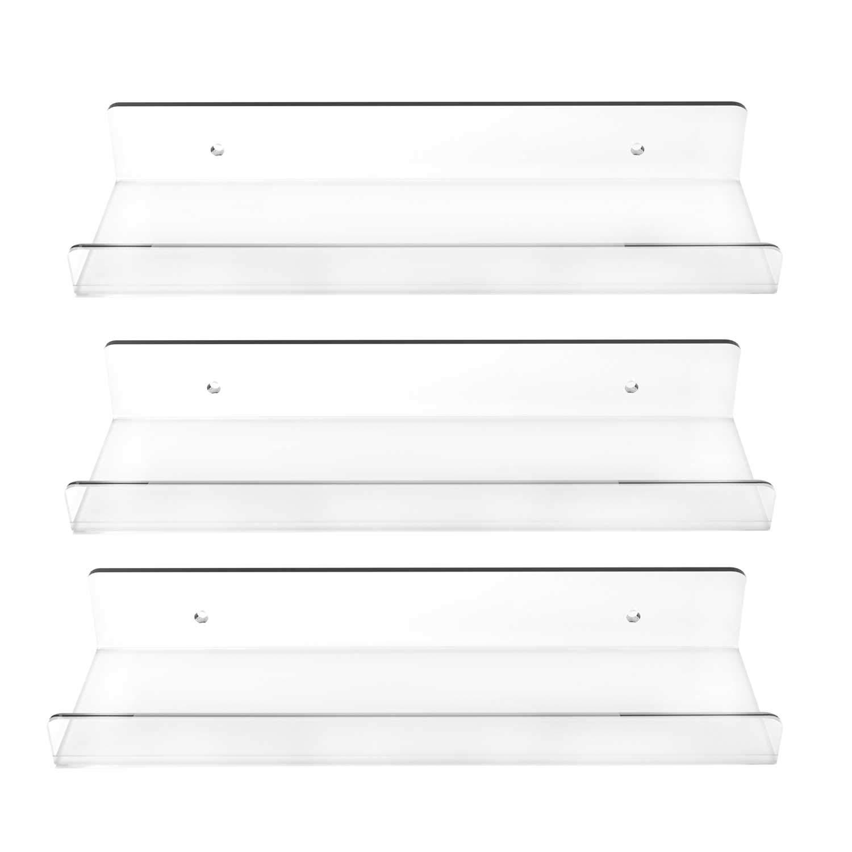 3 Pack Clear Floating Ledge Shelves - 15 Inch Invisible Acrylic Shelf, Wall Bookshelf, Bathroom Storage, Display Organizer, Spice Rack