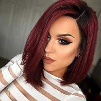"""N&T 14"""" Ombre Burgundy Bob Wigs Short Straight Ombre Wine Red with Dark Roots Synthetic Hair Full Wigs for Women Natural Looking Wig for Women"""