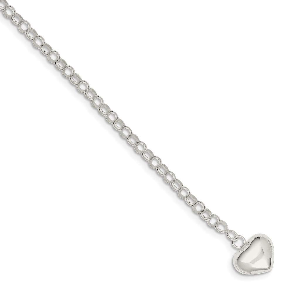 925 Sterling Silver Heart Charm Bracelet 7 Inch W/charm Fine Jewelry For Women Gifts For Her