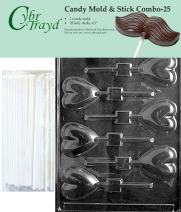 "Cybrtrayd 45St25-V026 Heart Lolly Chocolate Candy Mold with 25 Cybrtrayd 4.5"" Lollipop Sticks"