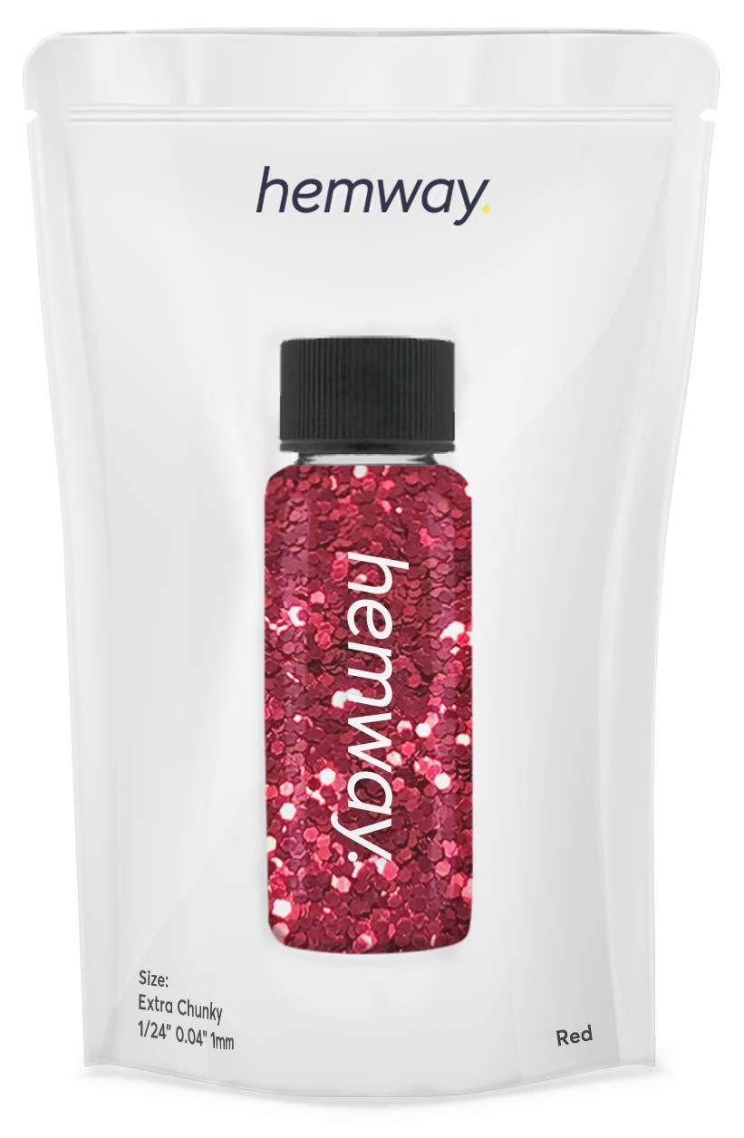"Hemway Glitter Tube 12.8g / 0.45oz Extra Chunky 1/24"" 0.04"" 1MM Premium Sparkle Gel Nail Dust Art Powder Makeup Pigment Eyeshadow Face Body Eye Cosmetic Safe-(Red)"