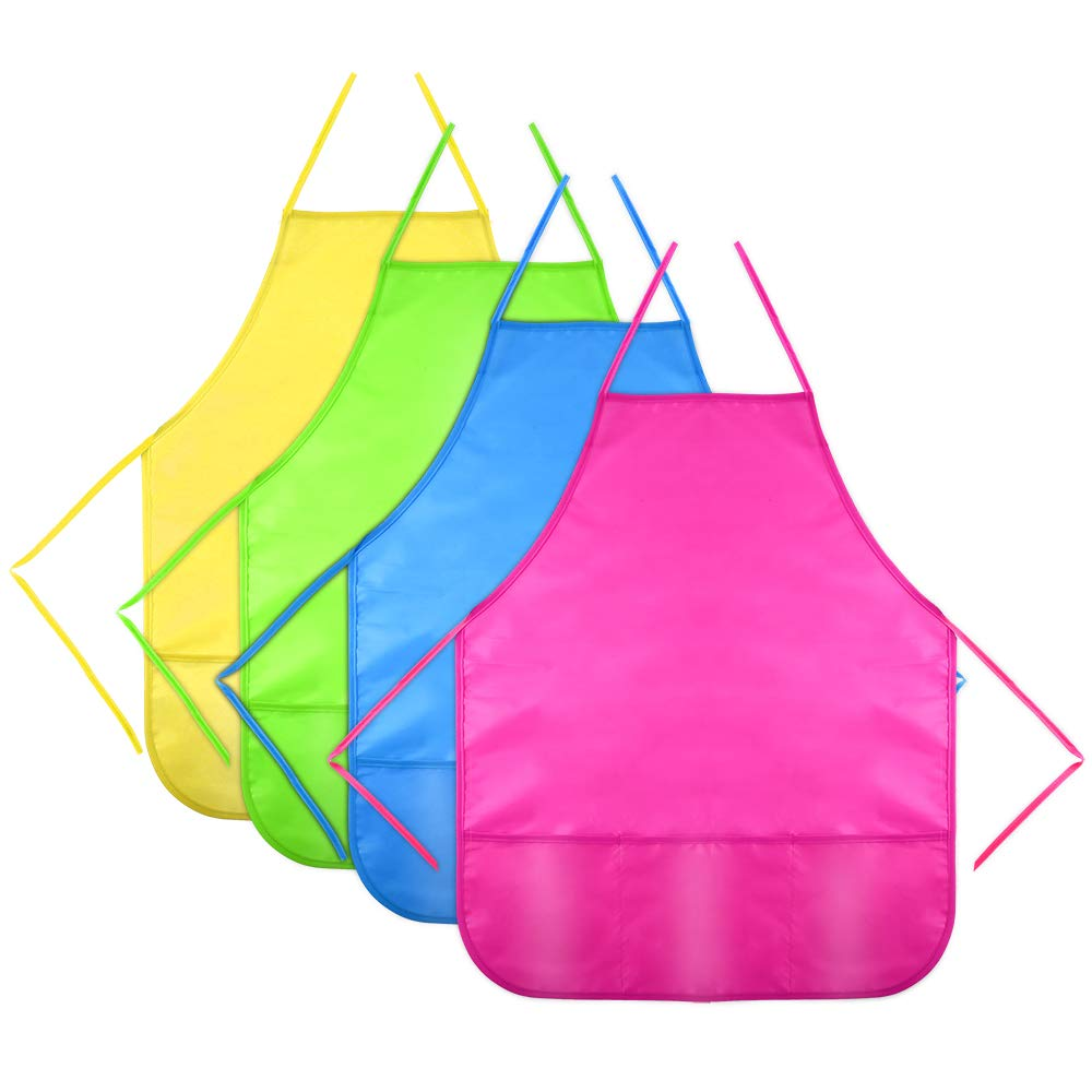 Caydo 4 Pieces Water Resistant Kids Painting Aprons for Aged 5 to 10, Middle Size Kid Aprons with 3 Roomy Pockets in Classroom, Crafts and Art Painting Activity
