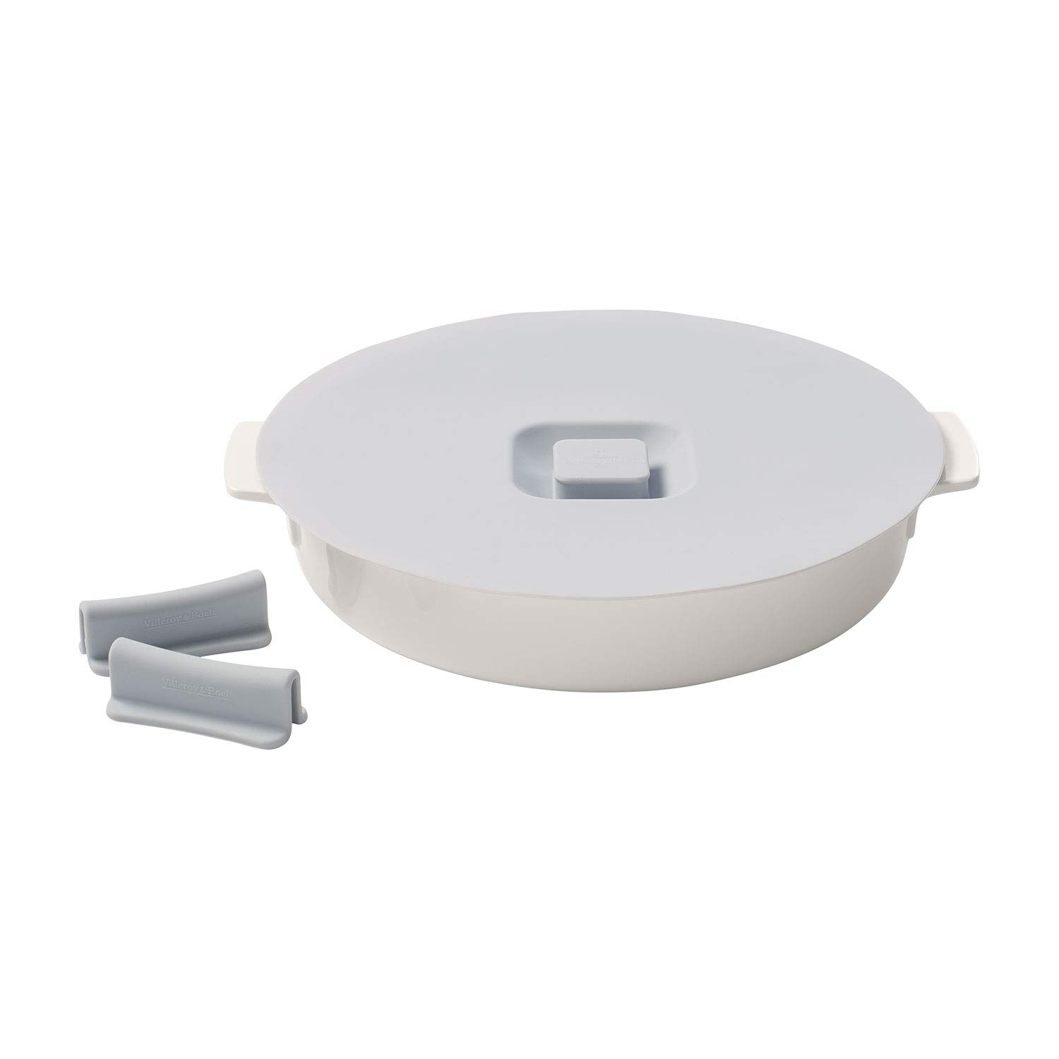Clever Cooking Round Baking Dish with Lid & Set of Silicone Handles by Villeroy & Boch - Premium Porcelain Baking Dish - Made in Germany - Dishwasher and Microwave Safe - 11 Inches
