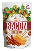 Fresh Gourmet Bacon Cheddar Cheese Crisps – 1.76 Ounce, 12 Pack – Real Bacon, 100% Natural Cheese – Keto Friendly, Gluten-Free Crunchy Salad Toppings for Snacking