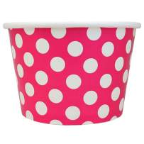 Valentine's Day Pink Paper Ice Cream Cups - 12 oz Polka Dotty Dessert Bowls - Perfect For Your Yummy Foods! Many Colors & Sizes - Frozen Dessert Supplies - 50 Count