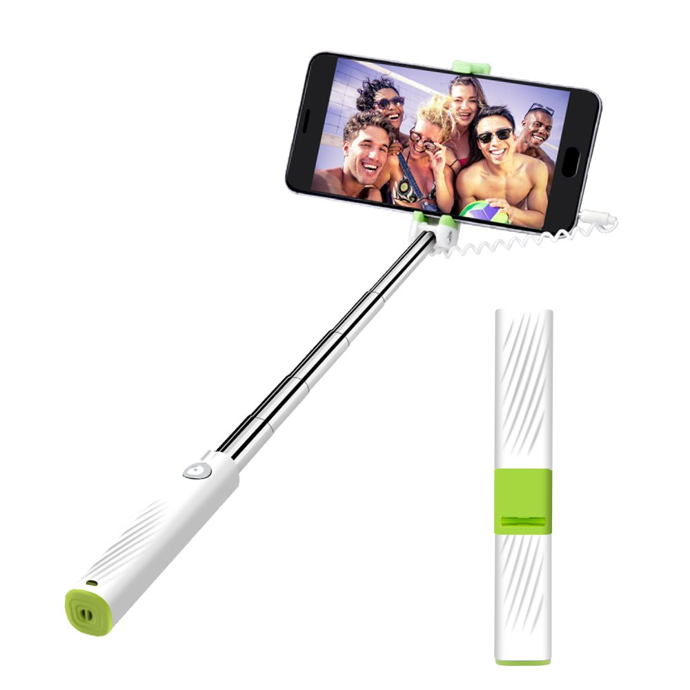 Mini Selfie Stick,atongm Selfie Stick for Compatible with iPhone/Android Gifts for Her/Girls/Boys (White)