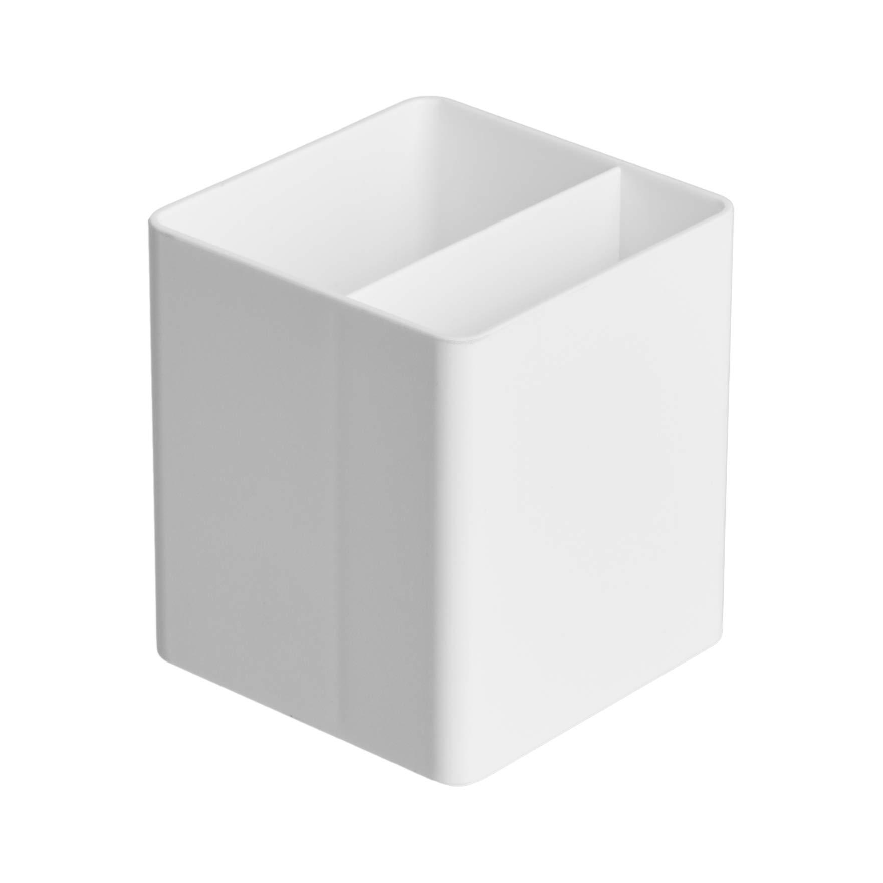 AmazonBasics Plastic Desk Organizer - Pen Cup, White