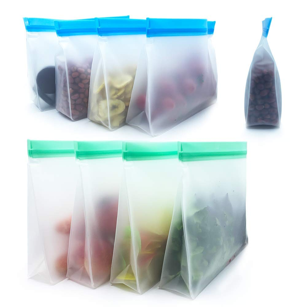 Reusable Food Storage Bags 8 Pack - Stand Up BPA FREE Leakproof Freezer Bags( 4 Large Gallon Bags+4 Sandwich Bags )Plastic Free Lunch Bag | Eco-friendly