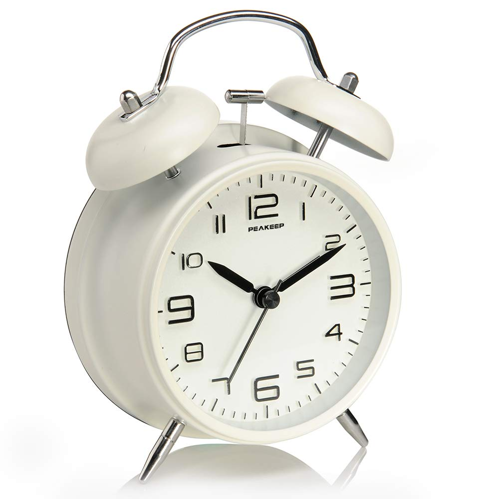 Peakeep 4 inches Twin Bell Alarm Clock with Stereoscopic Dial, Backlight, Battery Operated Loud Alarm Clock