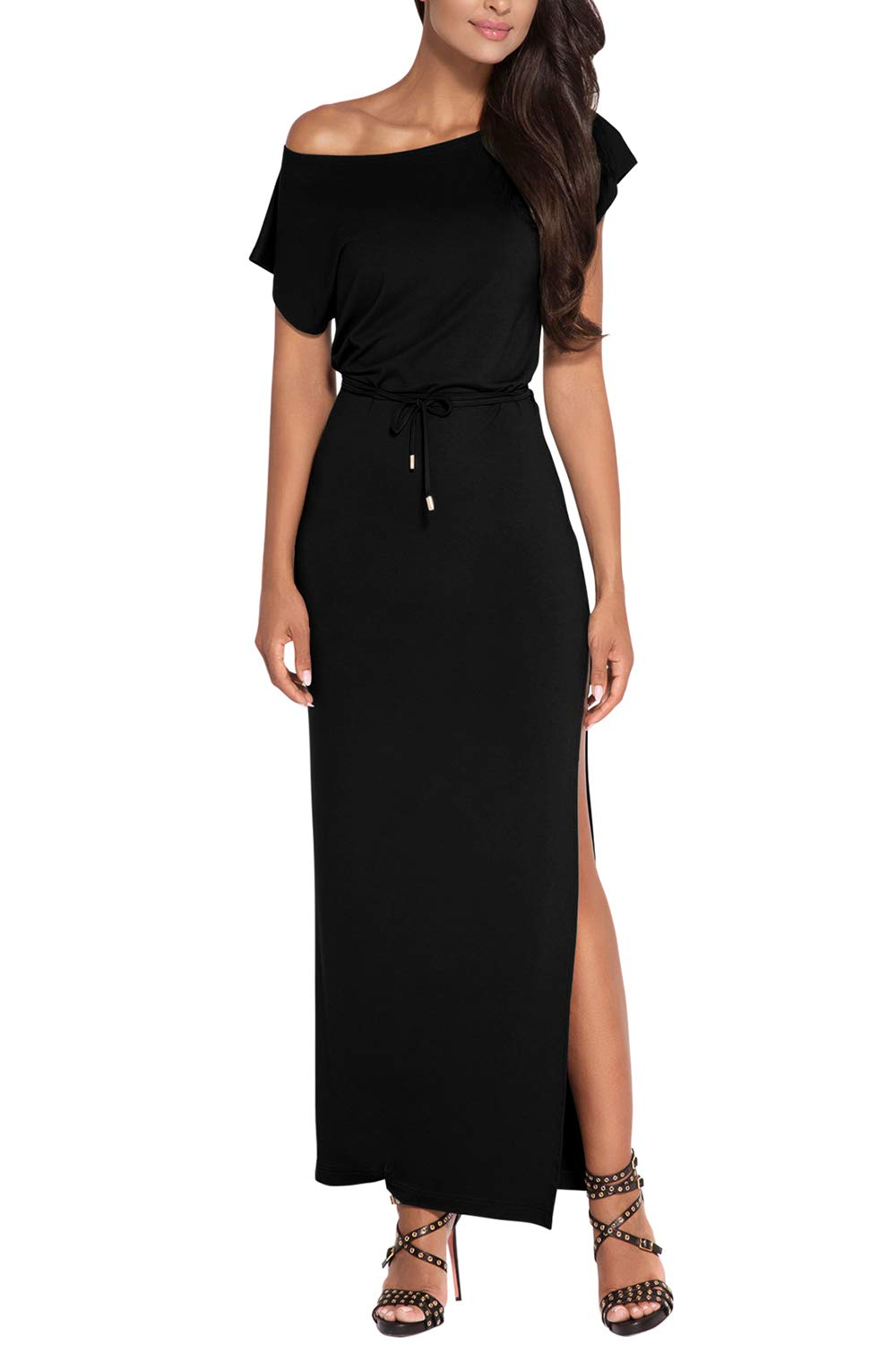 Pink Queen Women's Sexy High Slit One Off Shoulder Party Cocktail Dress