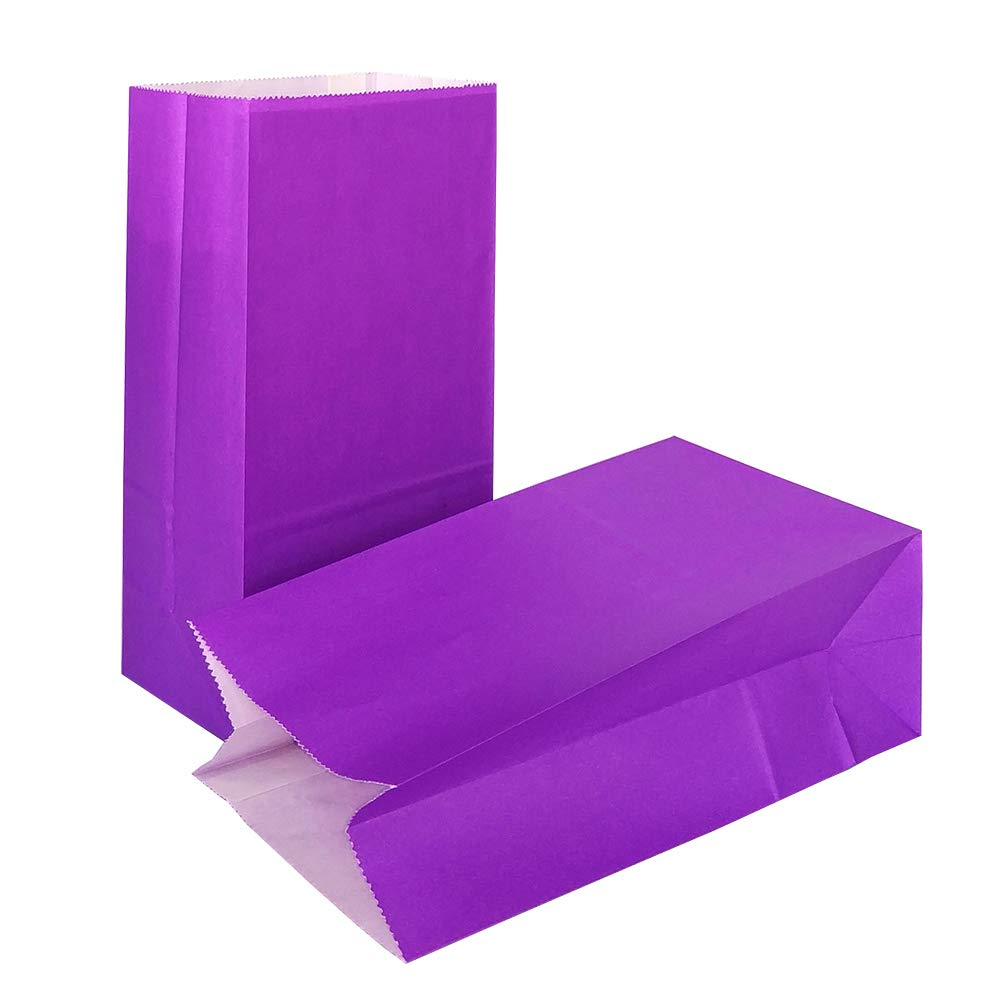 KEYYOOMY 100 CT Small Paper Bags Purple Kraft Party Goody Bags for Wedding Baby Shower Kid's Birthday Party (Purple, 100 CT, 3.1 X 5.1 X 9.4 in)