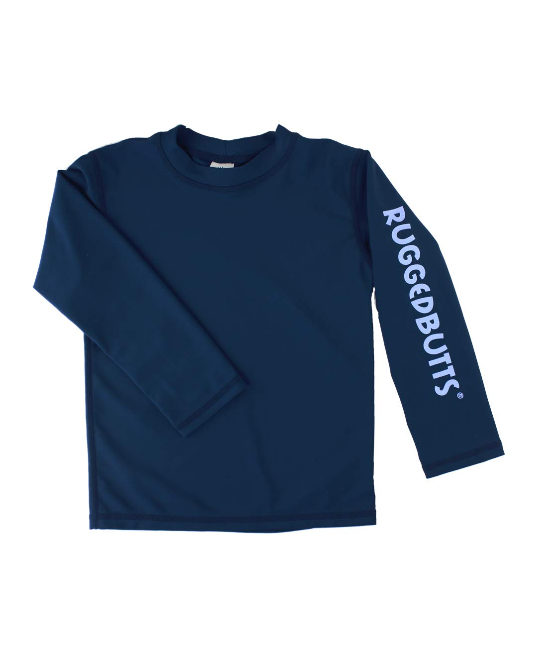 RuggedButts Baby/Toddler Boys Navy Long Sleeve UPF 50+ Sun Protective Rash Guard Surf Swim Shirt - 3-6m