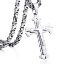 Trendsmax Cross Pendant Necklace Mens Boys Stainless Steel Gold Silver Byzantine Chain 22 24 26 28 30inch