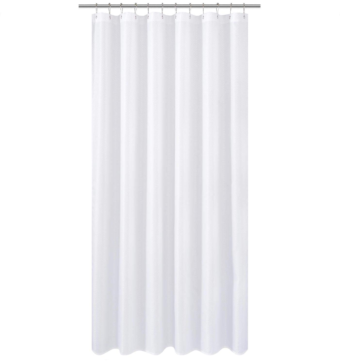 N&Y HOME Extra Long Fabric Shower Curtain or Liner 96 inches Height with Magnets, Hotel Quality, Washable, Water Repellent, Diamond Patterned White Bathroom Curtains with Grommets