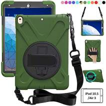 ZenRich iPad Air 3 Case 2019, iPad Pro 10.5 Case 2017,360 Rotating Kickstand Hand Strap & Shoulder Belt Shockproof Heavy Duty Rugged Case for iPad 10.5 inch Tablet 2017/2019 Release-Army Green