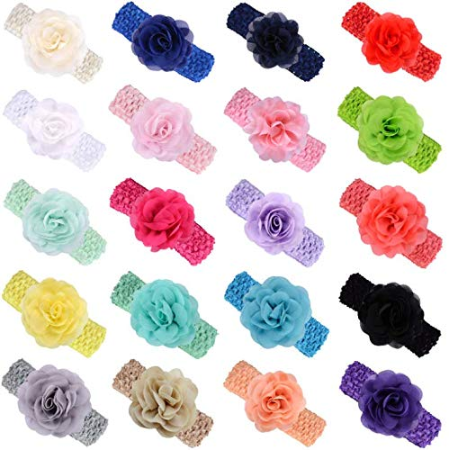 """KW Collection Girl Baby Headbands with Chiffon Rose Flower Elastic Crochet Hair Bands Ankle Wrist flower Hat Decoration (Band: 1.6""""×5.5"""", with Chiffon Rose: 3.15""""×3.15"""", 20 colors, 1 pcs per color)"""