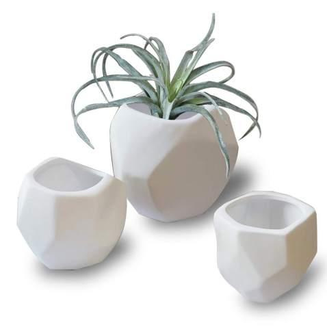 Handmade ceramic small planter cactus planter succulent white and grey planter ceramic pot pottery plant pot housewarming gift