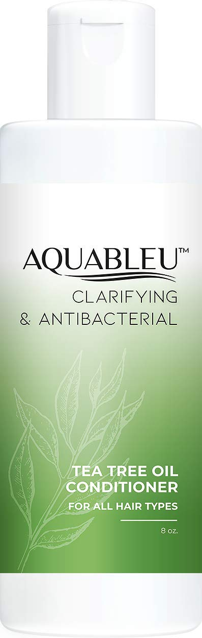 Aquableu Natural Tea Tree Oil Conditioner – Ultra Moisturizing & Scalp Soothing - Relieves Itchy Scalp -Anti-Bacterial & Anti-Dandruff Formula - Sulfate & Paraben Free - For color treated hair (8 oz)