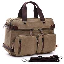 Canvas Laptop Messenger Bag Functional Multi-Pockets Convertible Backpack Briefcase for 14/15.6 Inch Laptop
