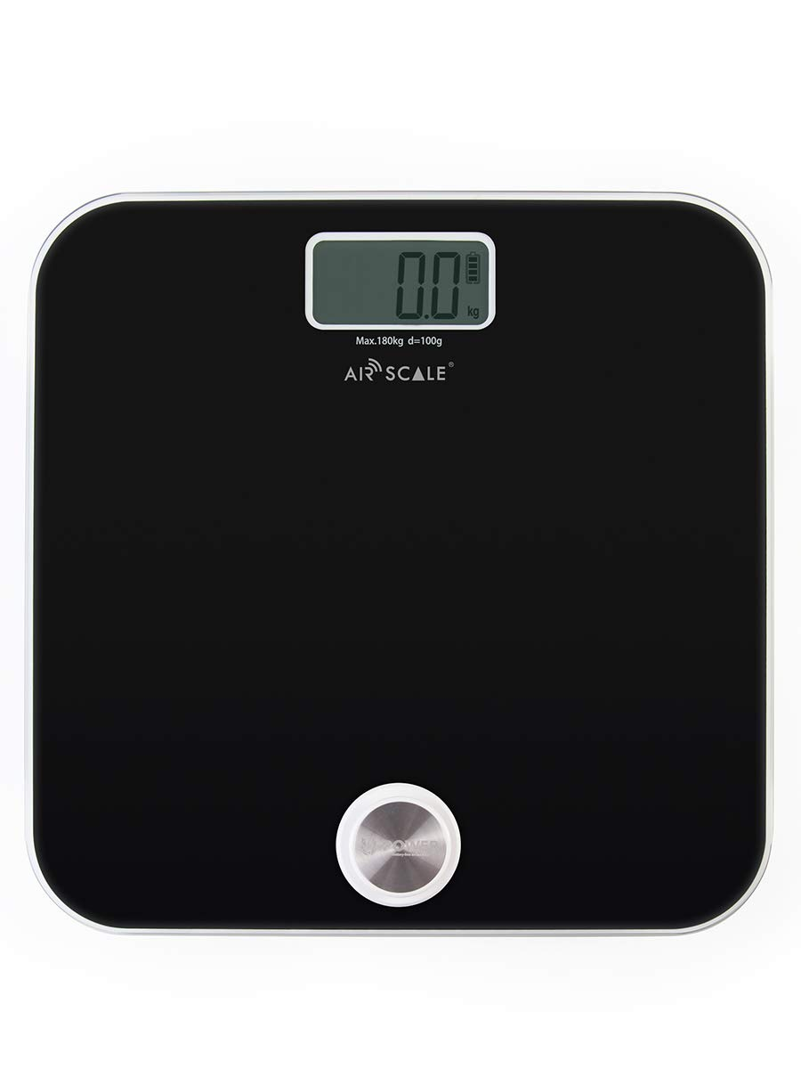 AIR SCALE Digital Bathroom Scale for People Health 400 Pounds Body Scale with LCD Screen Battery-Free Weight Scale (Black)