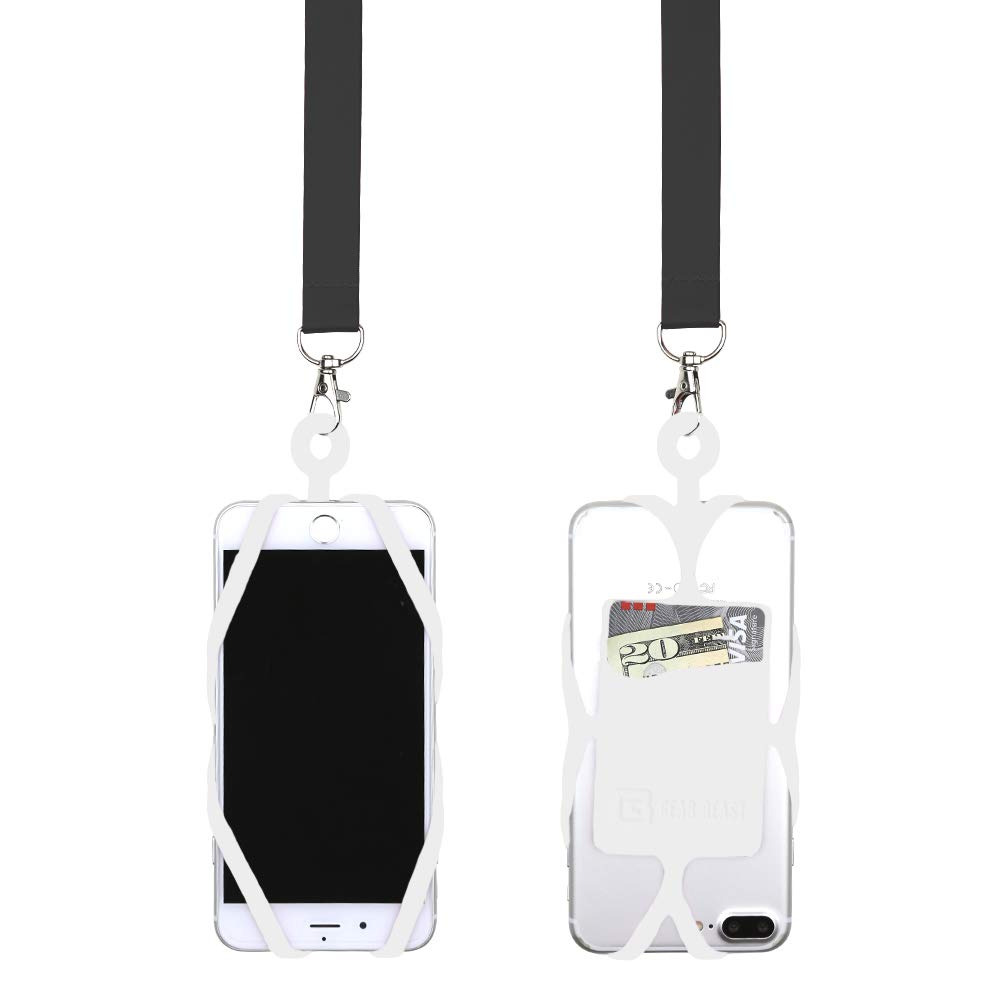 Gear Beast Universal Cell Phone Lanyard Compatible with iPhone, Galaxy & Most Smartphones Includes Web Phone Case Holder with Card Pocket, Soft Neck Strap with Breakaway Safety Clasp