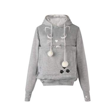 Unisex Pet Holder Cat Pouch Sweatshirt Hoodie Puppy Pullover Long Sleeve Dog Carriers Hooded Shirt Gray