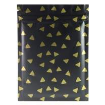 "QQ Studio 100 Matte Flat Food Grade Design Storage Ziplock Bags (0.4oz (2.8"" x 3.5""), Matte Black & Gold Diamond Flat Pouch)"