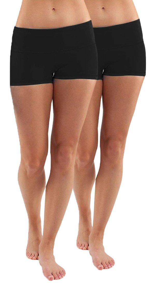 iloveSIA Women's Yoga Shorts Cotton Shorts Pants Pack of 2