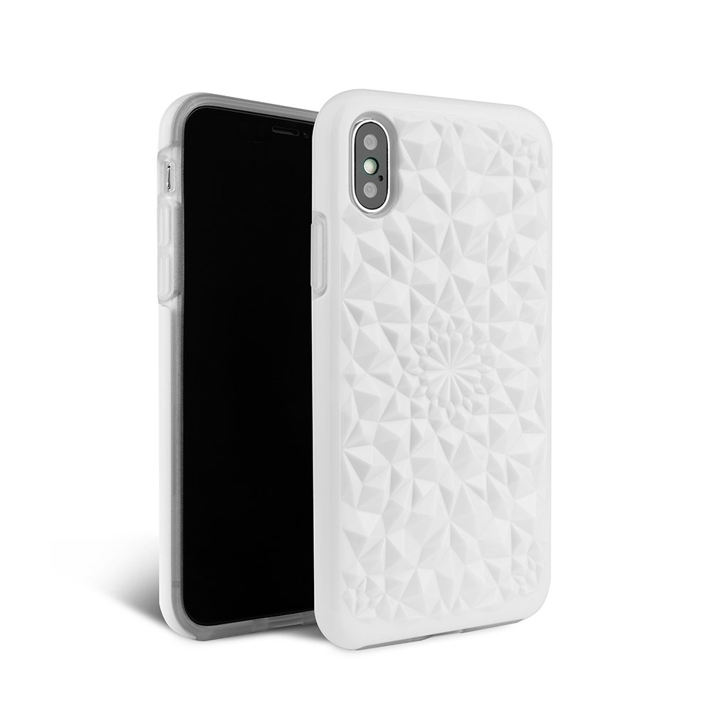 FELONY CASE iPhone Xs Max Case Kaleidoscope CASE - 3D Geometric 360° Shock Absorbing Protective iPhone Xs Max Case Protects Screen & Body (Gloss White Kaleidoscope CASE)