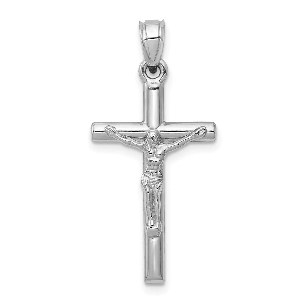 14k White Gold Crucifix Cross Religious Pendant Charm Necklace Latin Fine Mothers Day Jewelry For Women Gifts For Her