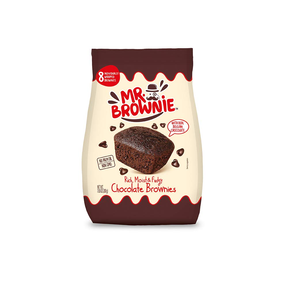 Mr. Brownie Chocolate Brownies - 1 Bag x 8 Individually Wrapped Fudge Brownie Bites with Real Belgian Chocolate Bits - Soft Sweet Snack for Home, School and Work - No Nuts, Palm Oil, or Corn Syrup