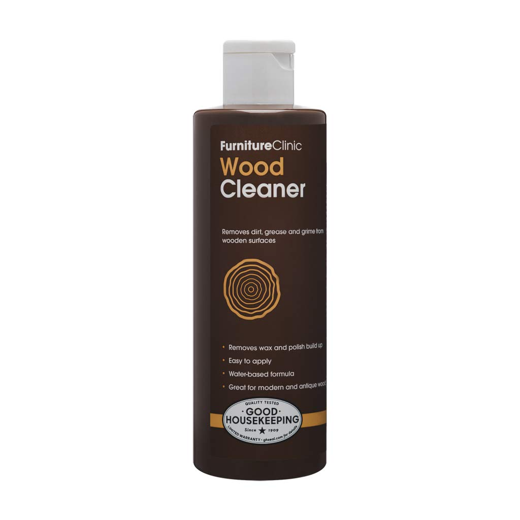 Furniture Clinic Wood Cleaner (8.5 oz, 250ml)   Restore & Spot Clean Hardwood Flooring, Blinds, Doors, Decking and Many Other Wood Surfaces - Easily Remove Wax & Polish Build up, Grease and Grime