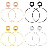 Longbeauty Stainless Steel Ear Tunnels Plugs Large Hoop Circle Dangle Ear Gauges Stretcher Expander 2g-5/8